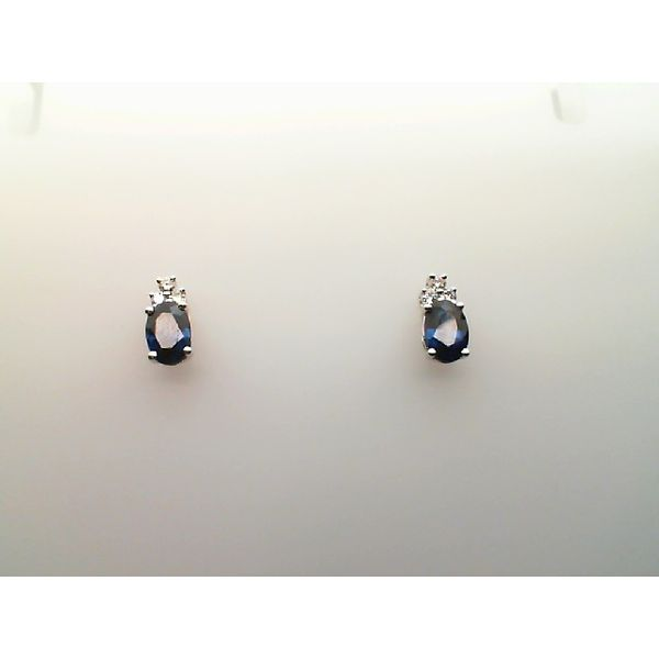 14KT. WHITE GOLDAND ROUND DIAMOND  OVAL GENUINE BLUE SAPPHIRES PIERCED EARRINGS Sanders Diamond Jewelers Pasadena, MD