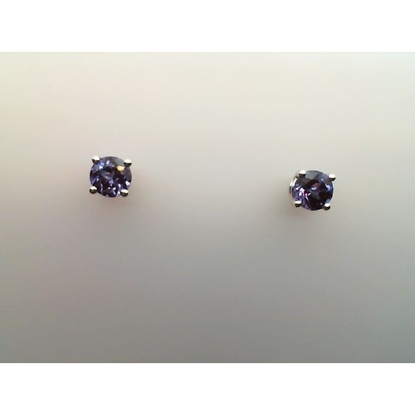 14KT. WHITE GOLD  ROUND CREATED ALEXANDRITE PIERCED FOUR PRONG BASKET STYLE STUD EARRINGS Sanders Diamond Jewelers Pasadena, MD