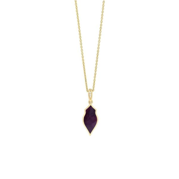 14KT YELLOW GOLD PURPLE SPINY OYSTER 0.01TW, 18