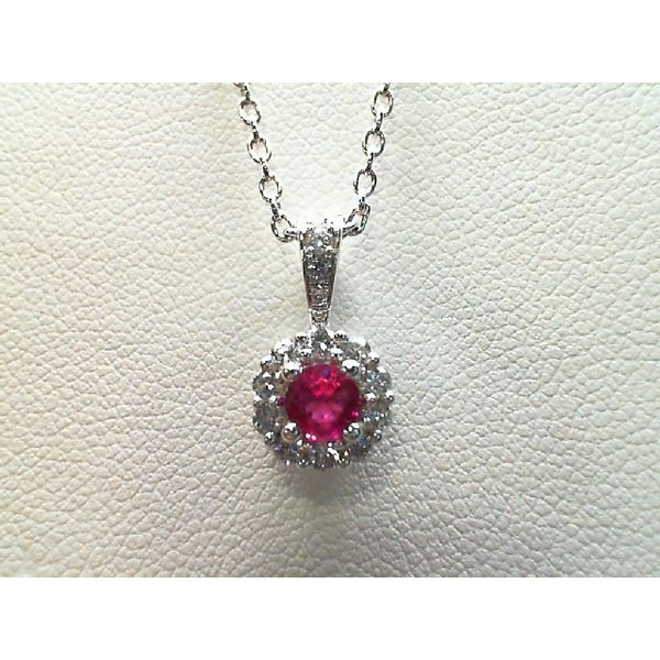 14kt White Gold Ruby and Diamond Necklace Sanders Diamond Jewelers Pasadena, MD