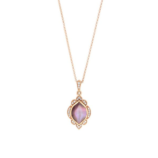 14KT ROSE GOLD PINK MOP AND DIAMOND .10CTW PENDANT WITH 18