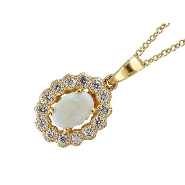 14kt Yellow Gold Diamond and Oval Australian Opal Necklace Sanders Diamond Jewelers Pasadena, MD