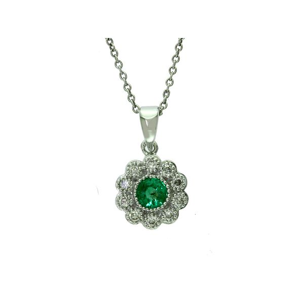 14kt White Gold Emerald and Diamond Necklace Sanders Diamond Jewelers Pasadena, MD
