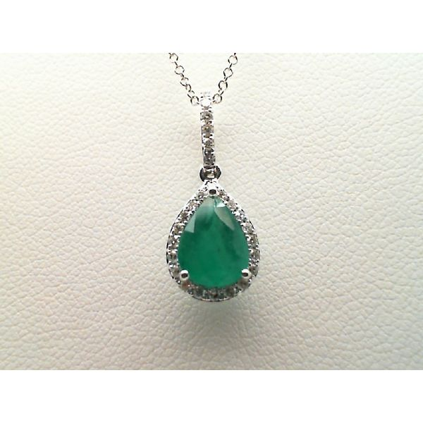 14kt White Gold Pear Shaped Emerald and Round Diamond Necklace Sanders Diamond Jewelers Pasadena, MD