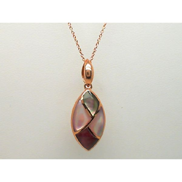 14KT ROSE GOLD BRONZE, PINK MOP WITH PURPLE SPINY OYSTER PENDANT WITH CHAIN Sanders Diamond Jewelers Pasadena, MD