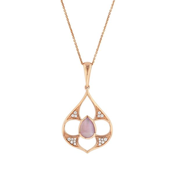 14KT ROSE GOLD 0.13CTDW ROUND DIAMOND AND PINK MOP PENDANT WITH CHAIN Sanders Diamond Jewelers Pasadena, MD