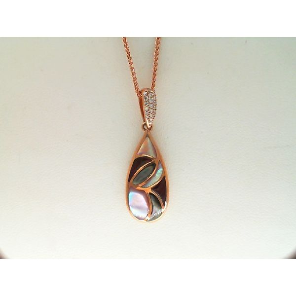14KT ROSE GOLD 0.01CTDW BRONZE, PINK MOP AND PURPLE SPINY OYSTER PENDANT Sanders Diamond Jewelers Pasadena, MD