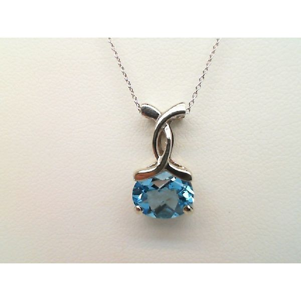14kt White Gold Swiss Blue Topaz Pendant on 18