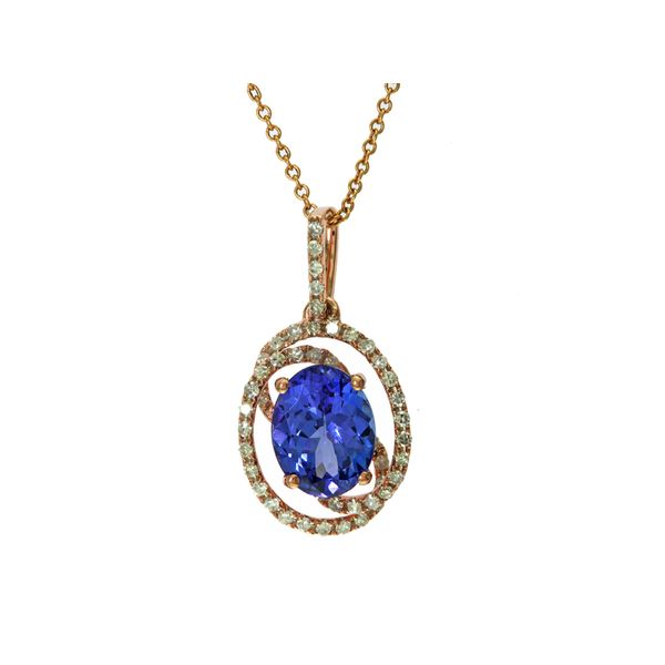 14kt Rose Gold Oval Tanzanite and Round Diamond Necklace Sanders Diamond Jewelers Pasadena, MD