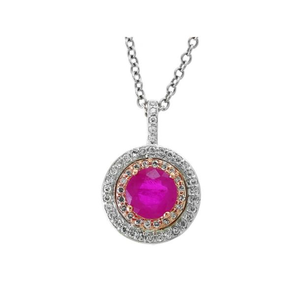 14kt White and Rose Gold Round Ruby and Diamond Double Hale Necklace Sanders Diamond Jewelers Pasadena, MD