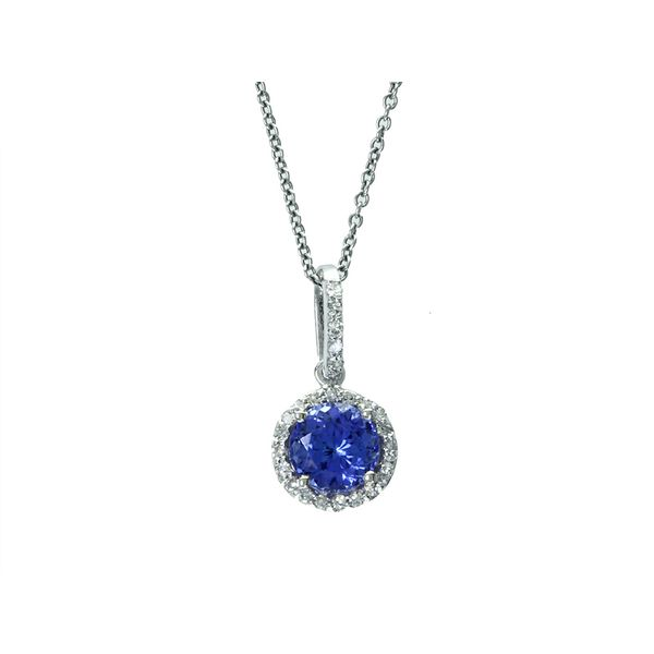 14kt White Gold Tanzanite and Diamond Halo Necklace Sanders Diamond Jewelers Pasadena, MD
