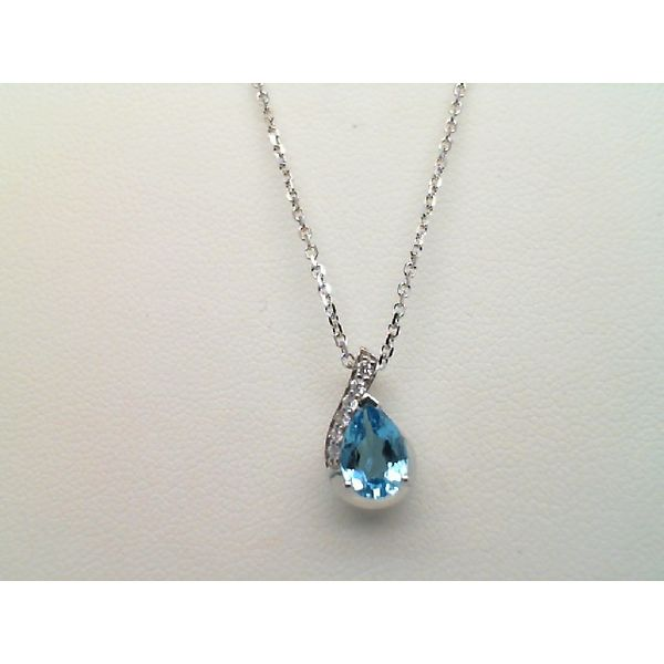 14KT WHITE GOLD PEAR BLUE TOPAZ AND DIAMOND PENDANT WITH 20