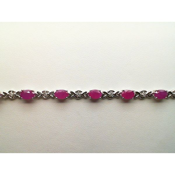 14kt White Gold Round Diamond and Oval Genuine Ruby Link Bracelet Sanders Diamond Jewelers Pasadena, MD