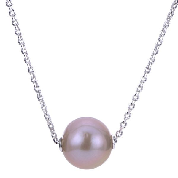 STERLING SILVER 11MM PINK NUCLEATED PEARL NECKLACE ON 18