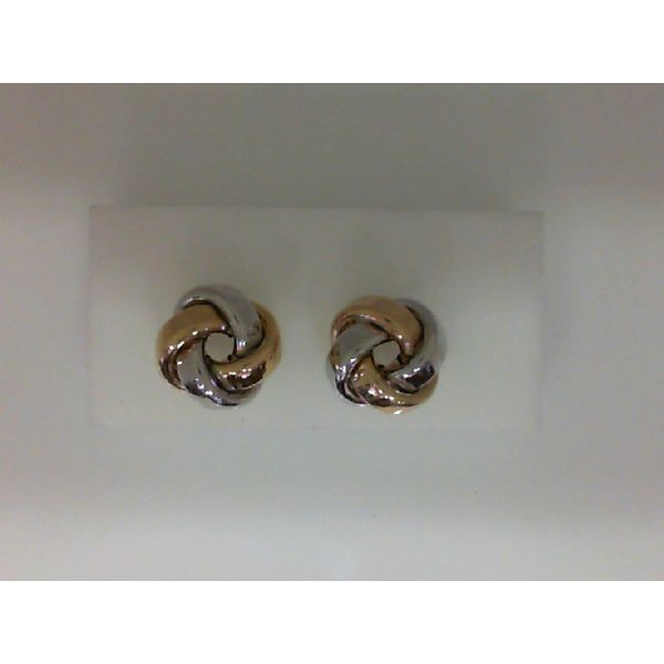 14Kt Yellow And White Gold Two Tone Large Love Knot Earrings Sanders Diamond Jewelers Pasadena, MD