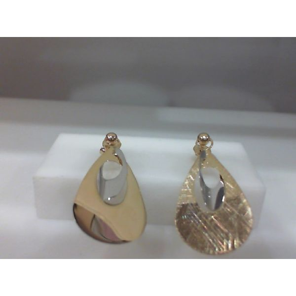 14Kt Yellow And White Gold Two Tone Polish And Scratch Finish Reversible Teardrop Earring Sanders Diamond Jewelers Pasadena, MD