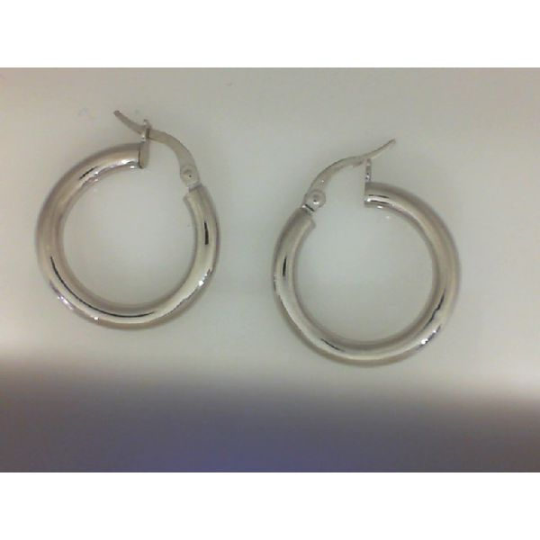 14Kt White Polished Italian Twists Small Hoop Earring Sanders Diamond Jewelers Pasadena, MD