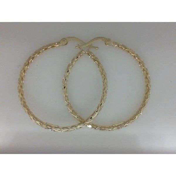 14Kt Yellow Gold Fashion Sparkle Hoop Earring Sanders Diamond Jewelers Pasadena, MD