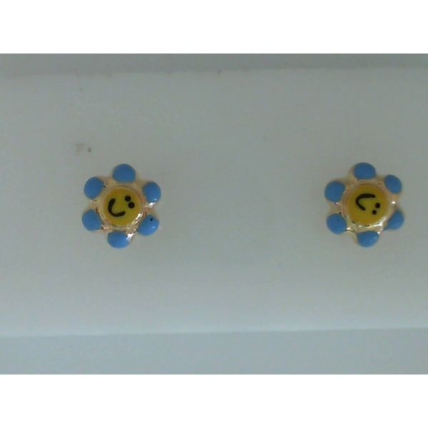 14Kt Yellow Gold Enameled Flower Earrings With Smiley Face Sanders Diamond Jewelers Pasadena, MD