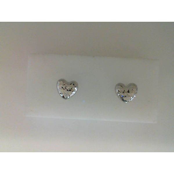 14Kt White Gold 8mm Diamond Cut Puff Heart Stud Earrings Sanders Diamond Jewelers Pasadena, MD