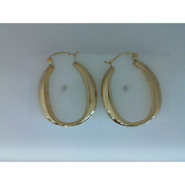 14Kt Yellow Gold Polished Oval Shaped Hoop Earrings Sanders Diamond Jewelers Pasadena, MD