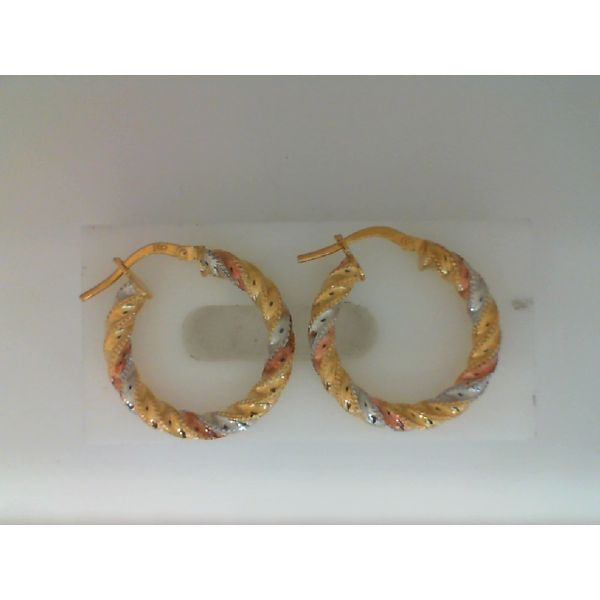 14Kt Yellow, White And Rose Gold 3.0 X 20.4mm Polished And Textured Hoop Earrings Sanders Diamond Jewelers Pasadena, MD