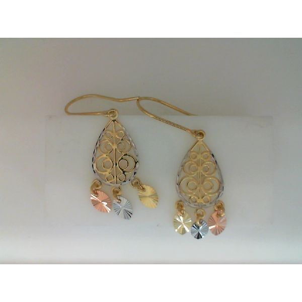 14kt YELLOW, WHITE  AND ROSE GOLD TRI COLOR DROP EARRING Sanders Diamond Jewelers Pasadena, MD