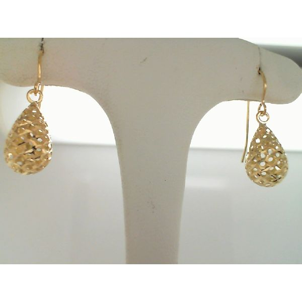 14Kt Yellow Gold  Filigree Puff Teardrop Earrings Sanders Diamond Jewelers Pasadena, MD