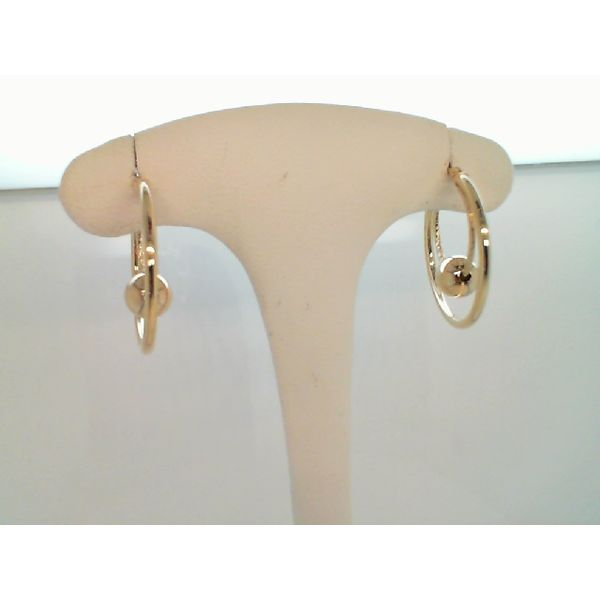 14K Yellow Gold Polished Textured with 6mm Ball Hoop Earrings Sanders Diamond Jewelers Pasadena, MD