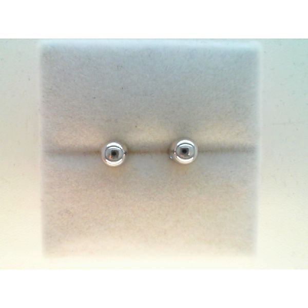 14KT WHITE GOLD 5MM HOLLOW BALL STUD EARRINGS Sanders Diamond Jewelers Pasadena, MD