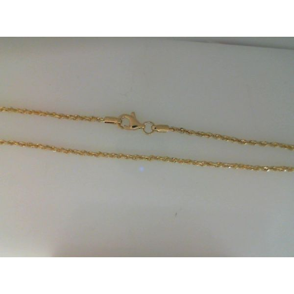 14Kt Yellow Gold 2mm Solid D/C Rope Chain With Pear Shape Lobster Clasp Sanders Diamond Jewelers Pasadena, MD