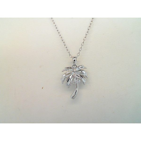 14Kt White Gold  0.04Ctdw Palm Tree Pendant On 18