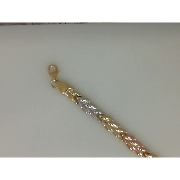 14Kt Yellow, White And Rose Gold Shiny Fancy Link Bracelet With Lobster Clasp Sanders Diamond Jewelers Pasadena, MD