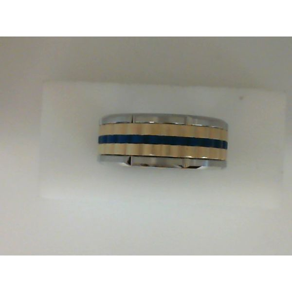 White and Yellow Tungsten and Blue Basket Weave 9mm Wedding Band Sanders Diamond Jewelers Pasadena, MD