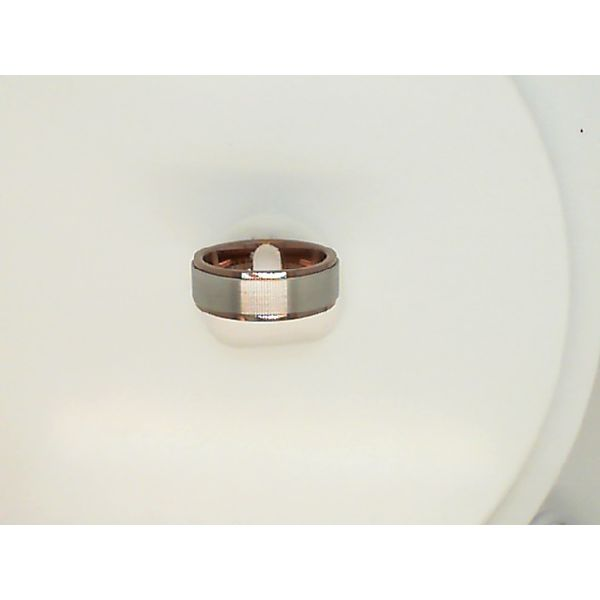 8MM FLAT BROWN & WHITE TUNGSTEN WEDDING RING SIZE 10 Sanders Diamond Jewelers Pasadena, MD