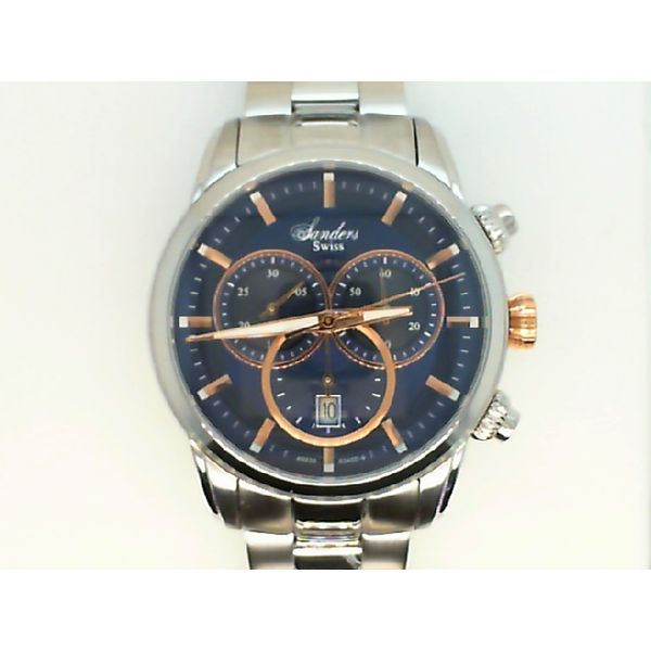 GENTS STEEL SWISS CHRONOGRAPH WITH SAPPHIRE CRYSTAL SANDERS SIGNATURE WRIST WATCH Sanders Diamond Jewelers Pasadena, MD