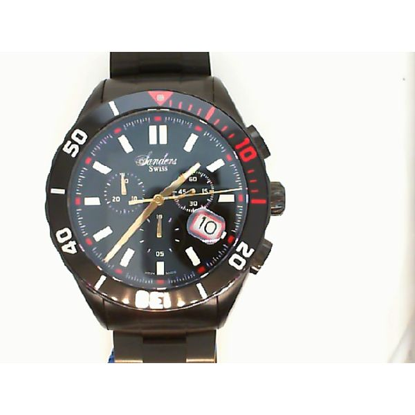 GENTS 10ATM CHRONO BLACK AND RED DATE SANDERS WATCH SAPPHIRE CRYSTAL Sanders Diamond Jewelers Pasadena, MD