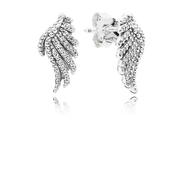 Pandora Majestic Feathers, Clear Cz Stud Earrings Sanders Diamond Jewelers Pasadena, MD
