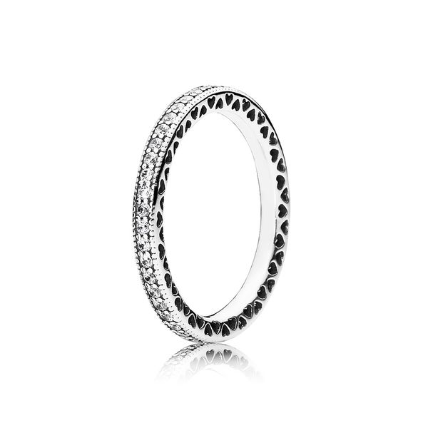 Pandora Sterling Silver Hearts of PANDORA, Clear CZ Size 10.5 Sanders Diamond Jewelers Pasadena, MD