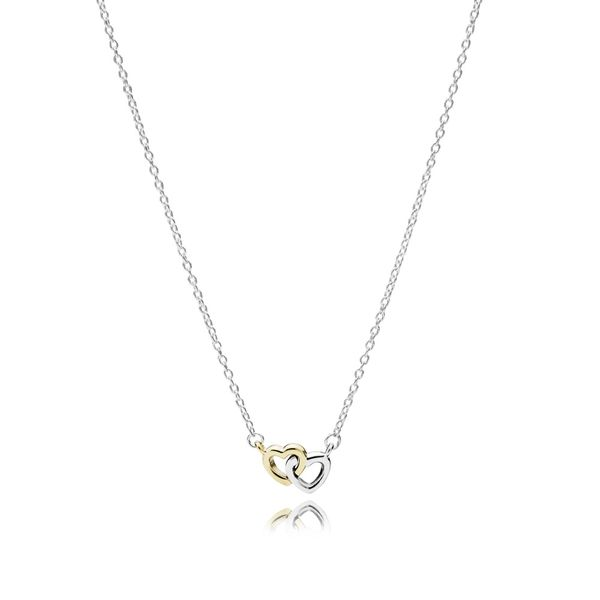 Pandora United in Love with 14K Gold and Clear CZ Necklace 17.7