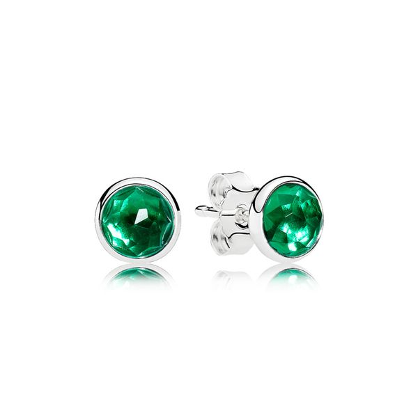 Pandora Earring Studs May Droplets with Royal-Green Crystal Sanders Diamond Jewelers Pasadena, MD
