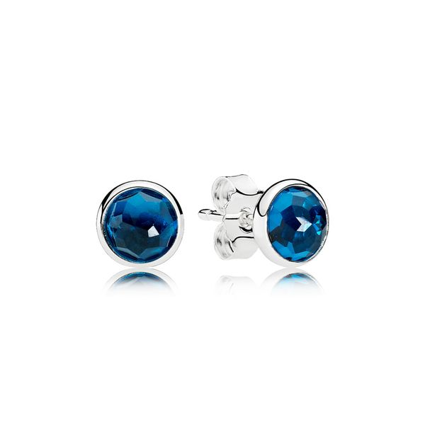 Pandora Earring Studs December Droplets with London Blue Crystal Sanders Diamond Jewelers Pasadena, MD
