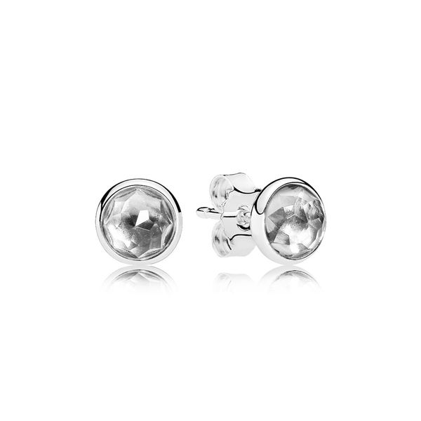 Pandora Earring Studs April Droplets with Rock Crystal Sanders Diamond Jewelers Pasadena, MD
