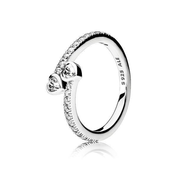 Pandora Sterling Silver Forever Hearts Ring, Clear CZ Size 8.5 Sanders Diamond Jewelers Pasadena, MD
