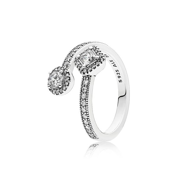 Pandora Abstract Elegance, Clear CZ Sterling Silver Ring size 5 Sanders Diamond Jewelers Pasadena, MD