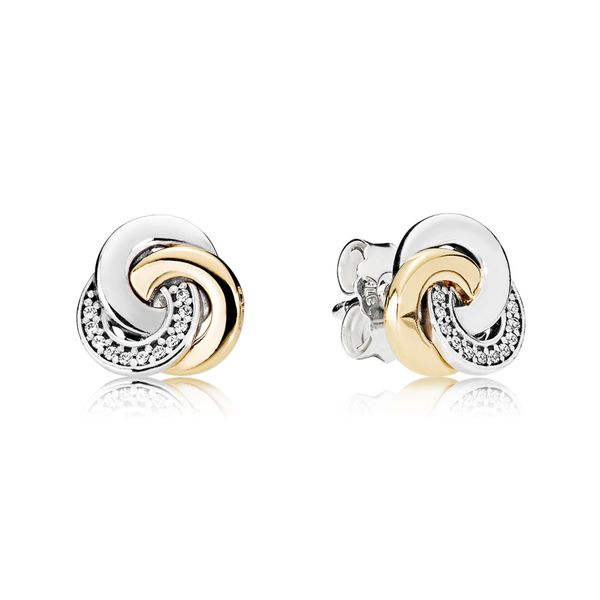 Pandora Sterling Silver and 14kt Yellow Gold Stud Earrings Interlinked Circles, Clear CZ Sanders Diamond Jewelers Pasadena, MD