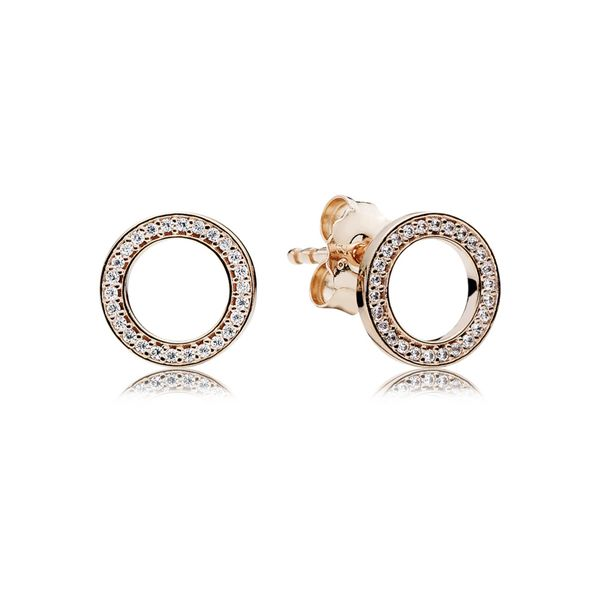 Pandora Rose Stud Earrings Forever PANDORA with Clear CZ Sanders Diamond Jewelers Pasadena, MD