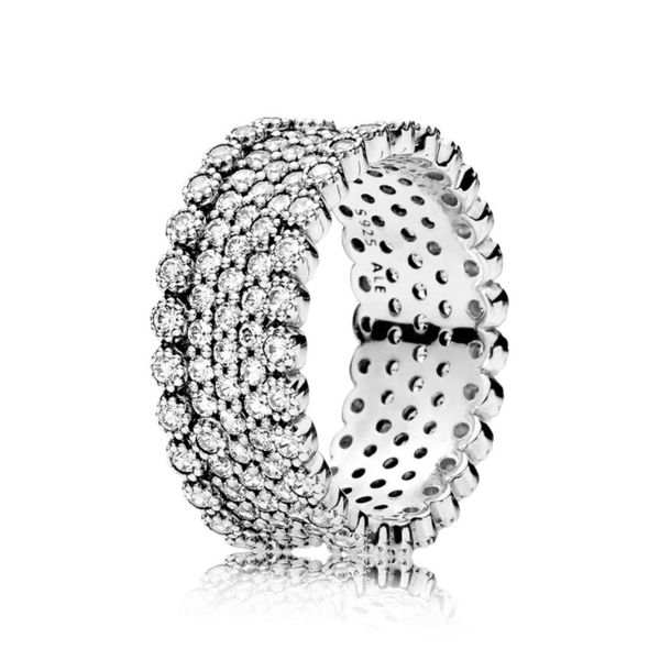 Pandora sterling silver with pave-set clear CZ ring size 7 Sanders Diamond Jewelers Pasadena, MD