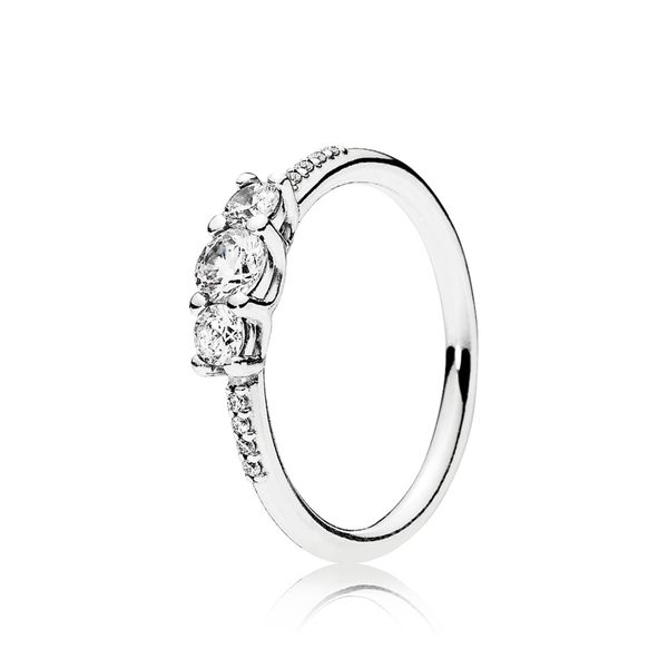 Pandora Ring in sterling silver with 3 claw-set and 8 bead-set clear CZ Size 8.5 Sanders Diamond Jewelers Pasadena, MD