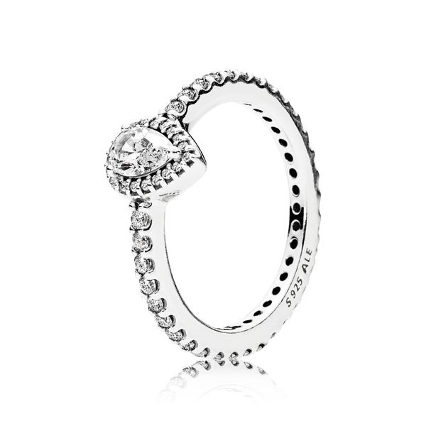 Pandora sterling silver with vintage-cut center clear CZ ring size 8.5 Sanders Diamond Jewelers Pasadena, MD